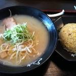 越前らーめん塩てつ - 塩てつラーメン298円(半額)+餃子炒飯セット350円(2011.06)