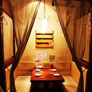 限定3テーブルのカーテン付き半個室