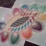 ママズキッチン - テーブルクロスにはニャンドゥッティーという刺繍が