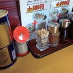 北のらー麺 らう家 - 「らう家」卓上のコショウ・七味・すりゴマ・ラー油・餃子のタレ