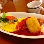 卵と私 - ホタテフライとカニクリームコロッケのオムライスプレート[ドリンクセット]ランチ ¥1,230