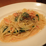 24014954 - Spaghetti with cream sauce, salmon and spinach。オニオンも入ってますよ