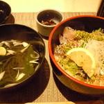 緒々咲 北新地店 - 朝〆鯵どろぽん酢丼セット800円♪