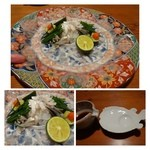 キヨノ - ◆「てっさ」・・丁寧に薄造りにされた「てっさ」は数枚一度に頂くのが楽しみ。  指を添えてみましたので、大きさが解りますかしら?タレ皿が「ふぐ」というのもご愛敬^^