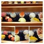 キヨノ - 上:鮪、ふぐ、イクラ、烏賊、車エビ(頭は焼いてありそのまま頂けます)  下:海胆、フルーツトマト、白菜(下には明太子)、カラスミ大根、アナゴ