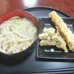 室蘭製麺所 - かけうどん(並・温)、ちくわ天、舞茸天