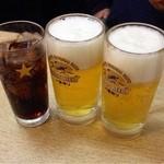 24046918 - 晩酌セット(¥1,000)の生ビールと単品のコーラ ¥210