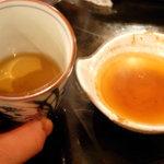 北の街成吉思汗 くまげら - 食後にほうじ茶 タレに割って飲み干します。もったいないので・・・