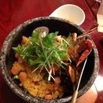 キッチン フタバ - 今日のゴハン(海鮮石焼丼パエリア風)840円。これにスープ、サラダ、デザート、ドリンクが付きます。
