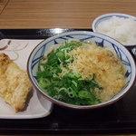 丸亀製麺 - かけうどん(並)、かしわ天、天丼用ご飯