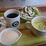 モリバコーヒー - モーニングセット、シーザーチキンサラダ