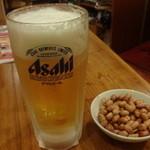 農家庄 - 生ビール、お通し