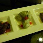 仙台かき徳 - かきグルメ焼きランチ:前菜3点盛り(しぐれ煮・かきマリネ・佃煮)