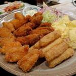 田島亭 - 牡蠣、帆立、ホワイトアスパラのフライ