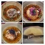 禅 - お茶漬け3種:タコワサ・鮭・しば漬け。デザート。