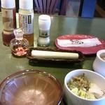 24113885 - ゴマをすります。キャベツのドレッシングは和風と野菜。野菜は半分果物みたいで甘酸っぱくて美味しい。漬物用の醤油。これは美味しい、京都の西利のお漬物が美味しいと思ったけどそのタレに似ています。