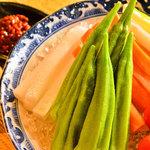 なだ飯家 - 旬野菜のもろ味噌ディップ