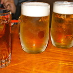 居酒屋まんま - 生ビール 600円 寒い冬でも旨い。
