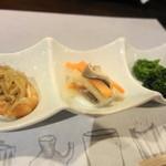 富小路 春隆 - お通し 鯖・菜の花・煮物