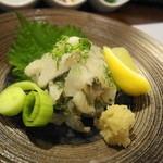 富小路 春隆 - 太刀魚のお刺身 生姜とネギで