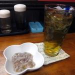 24132975 - 緑茶割り。タコわさオマケ