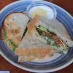 24142644 - サンドイッチとヨーグルト。パンはカンテグランデ・ベーカリーのパン。 メニューの写真ではサンドは2切れだったのに、大きなのが3切れもある~!予想以上にボリュームある~!~(*'v'*)/