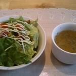 エコマンナ - (20140209) Aランチのサラダとスープ