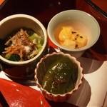 いせもん本店 - 三段弁当ランチ(神路山弁当) 一の段(小鉢三種)