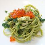 モード ディ ポンテベッキオ - 天然ブリとカブの葉ソースのオイルスパゲッティ ねったりイクラを散らして