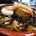 長寿庵水天宮店 - 厚焼き卵に甘海老、かまぼこ、豚肉、のり、えのきだけ・・・・具だくさん!