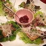 まじょまじょ - 上州豚バラ肉の塩焼きネギ味噌ソース