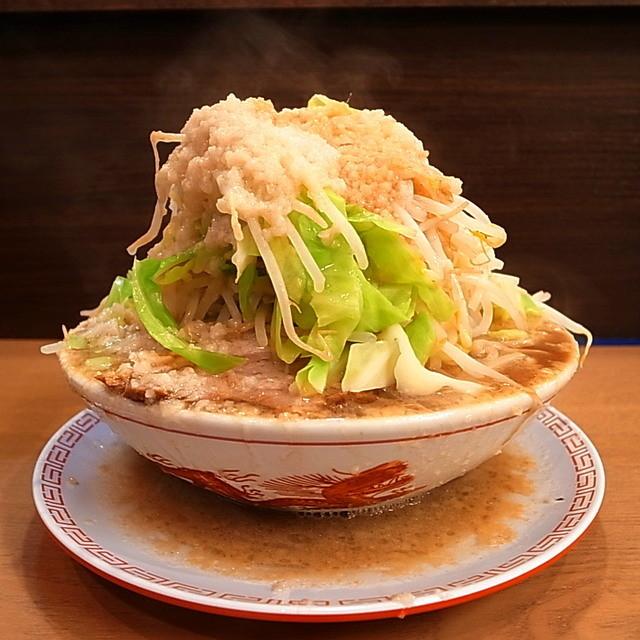 太一商店 行橋店 - ラーメン(カチ盛400g、背脂、ニンニク、ヤサイ多め、2014年1月11日)