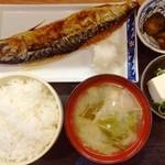 海鮮居酒屋 一心 - 焼き魚定食。魚でかっ!