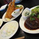 和 dining 清乃 - でかエビフライ3匹&和牛ハンバーグの大盛Setですw