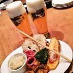 魚deバール ウオチカ。 - 前菜盛り合わせ&ビール