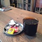 ロンパーチッチ - ホットコーヒー。バレンタインということで、チョコが付いてきた^_^