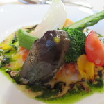 24257038 - 彩々の野菜とスモークサーモンのガトー仕立て  水彩画風