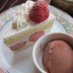 ナガハマコーヒー - ショートケーキにチョコのジェラート