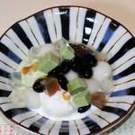 魚菜えぼし庵・隠座 - 丹波黒豆と小豆/アイス皿