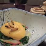 24291148 - ぬたの酢味噌和えの上にはつくしの唐揚げ