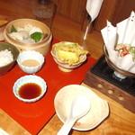 24319195 - メイン、豆乳鍋、天津、天麩羅