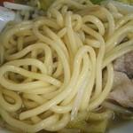 チャンポンの麺、太麺です