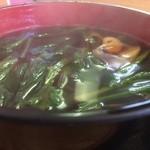 田舎うどんかもkyu - 2014.02 つけ汁UP(牡蠣は底の方)