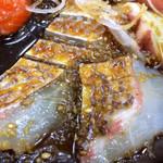 和食処 大藤 - 胡麻醤油が最初からかけてあります。