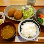 ひまわり亭 - 当店手作りコロッケ定食 1000円