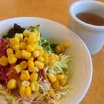 ハンバーグ オニオン - ランチセットのサラダはサラダバーから取り放題♡
