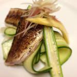グルーム - 炙りカマスと季節野菜のサラダ仕立て@予約制ディナーコース