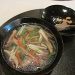 きんとき - 沢煮椀、合鴨、京人参、焼葱、独活、椎茸、三つ葉、牛蒡、絹さや