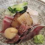 きんとき - お造り、鮃、黒鯥、しめ鯖、平貝の味噌漬け、ほたるいか