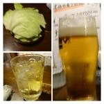 24344911 - ビールとハイボールで乾杯。キャベツは無料で追加できるそうです。